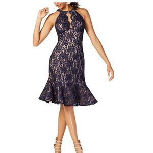Womens Classic Halter Prom Lace Glitter Blue Dress